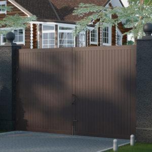 Распашные ворота DoorHan SWS в алюминиевой раме с заполнением сэндвич-панелями