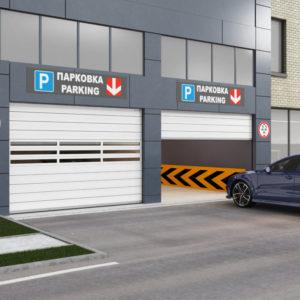 Скоростные секционные ворота DoorHan ISD01-Parking из алюминиевых сэндвич-панелей с торсионным механизмом