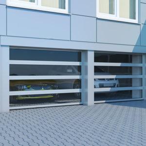 Секционные ворота DoorHan ISD02 из алюминиевых панорамных панелей с торсионным механизмом