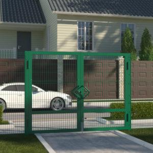 Распашные ворота DoorHan со стальной рамой и заполнением стальной сеткой